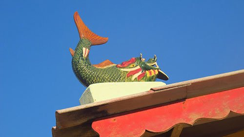 Ceramic whale roof ornament at a whale temple in Mui Ne